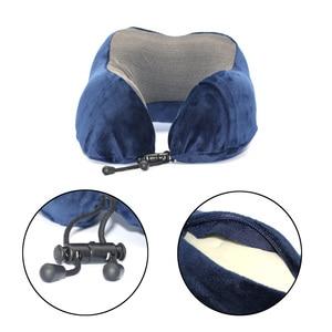 Image 5 - U Shaped Memory Foam Neck Pillows Soft Travel Pillow Neck Cervical Airplane Pillow 30*28*14CM Cervical Travel Healthcare Bedding