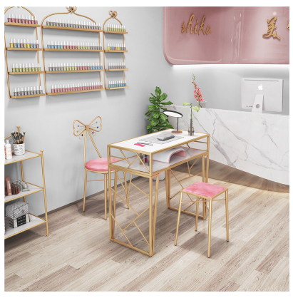 New North Europe And The United States A Table And Chair Set Single Double Special Price Economic Iron Net Red Earth Gold Manicu