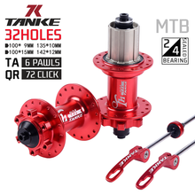 TANKE 32 holes MTB Bike Hub Sealed Bearing 6 paws 72 clicks Aluminum Alloy disc brake front and rear 135mm Quick Release/142mm T