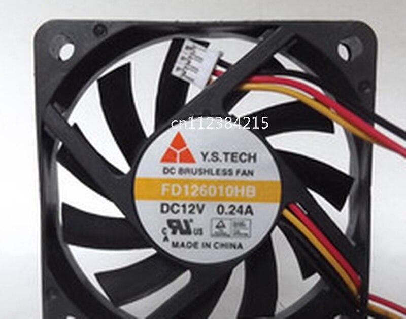 Free Shipping For Y.S.TECH FD126010HB DC 12V 0.24A 3-wire 60X60X10mm Server Cooler Fan