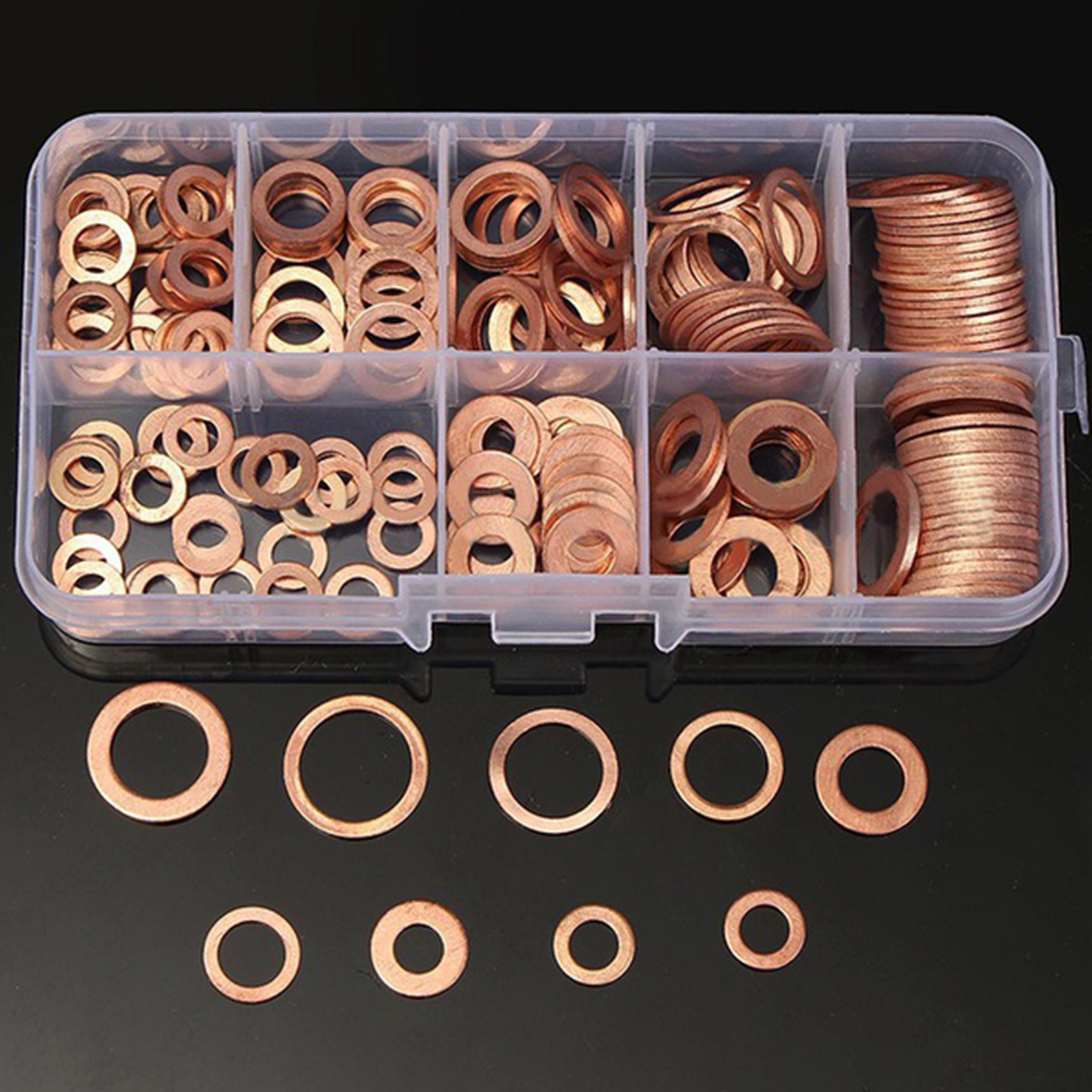 200pcs Copper Washer Gasket Nut and Bolt Set Flat Ring Seal Assortment Kit With Box //M8/M10/M12/M14 for Sump Plugs