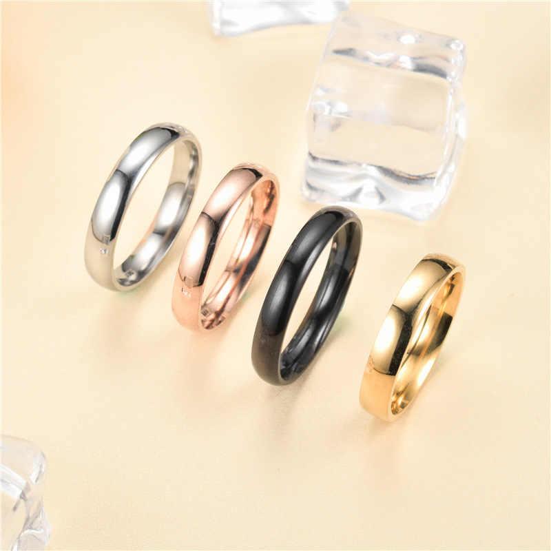 פשוט נשים טבעות רוז זהב נירוסטה טבעת חתונה טבעות רוז זהב מבריק טבעת נשים אביזרי Anillos Mujer G-063