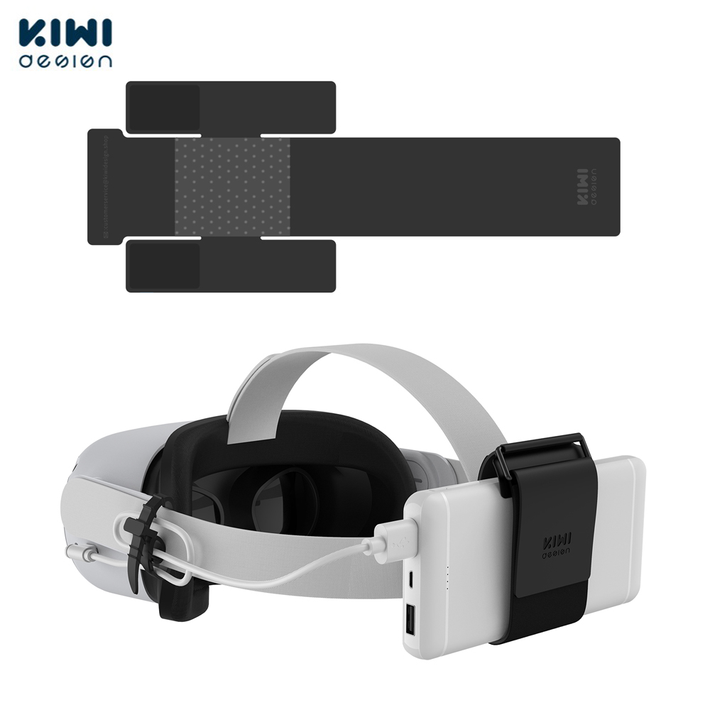 KIWI design VR Power Bank Fixing Strap For Oculus Quest/Quest 2 Accessories Fixed On VR Headset Strap (Not For Elite Strap)