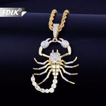 FDLK Tier Skorpion Hip Hop Anhänger mit Halskette Bling Herren Halskette Schmuck für Geschenk