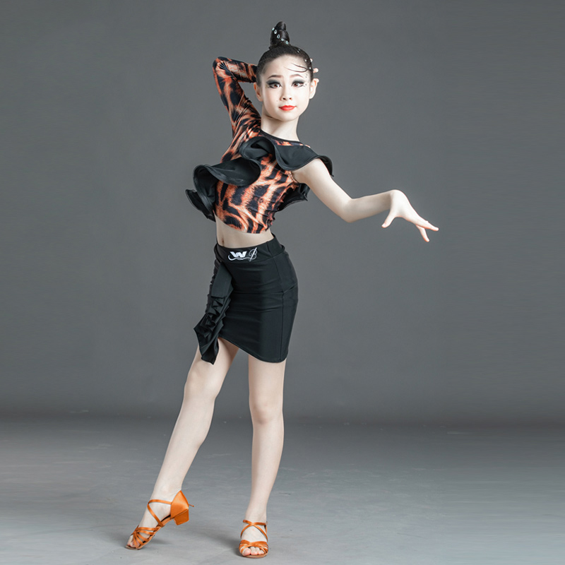 New Summer Latin Dance Costumes Children'S Leopard Print Practice Clothes Latin Dance Skirts Girls Performance Clothing SL3221