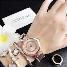 Contena New style Stainless Steel Female Clock Rhinestone Wristwatches Women's Wrist Watch New Fashion Watches Women(China)