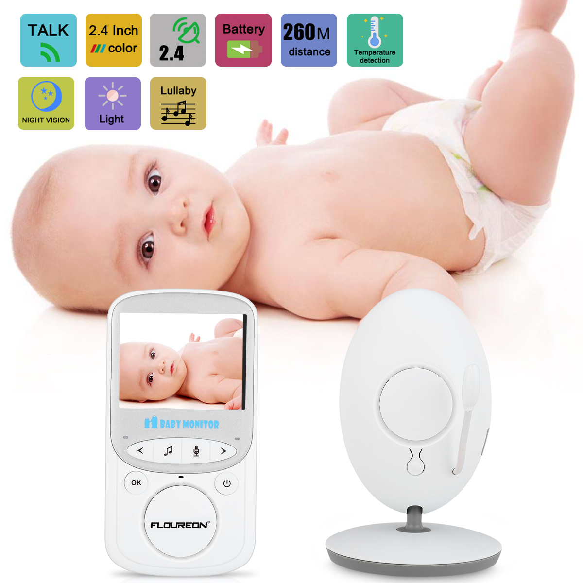 IMPORX Wireless LCD Audio Video Baby Monitor VB605 Radio Nanny Music Intercom IR 24h Baby Camera Baby Walkie Talkie Babysitter