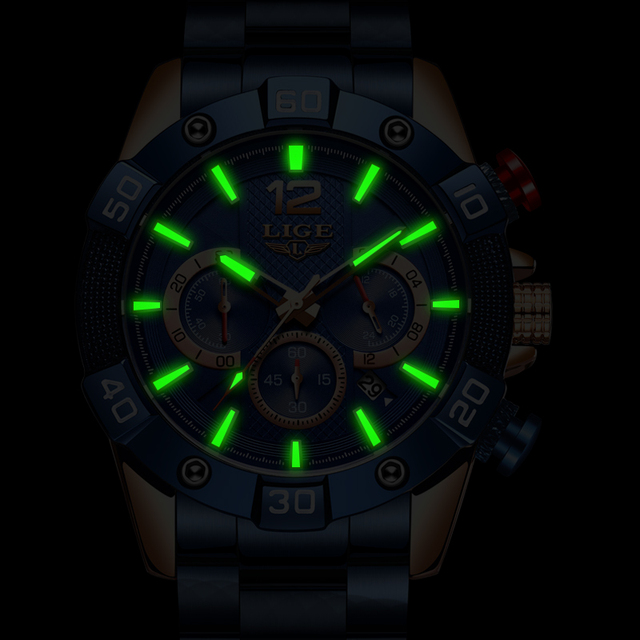 LIGE 2021 New Fashion Blue Mens Watches Top Brand Luxury Clock Sports Chronograph Waterproof Quartz Watch Men Relogio Masculino 3