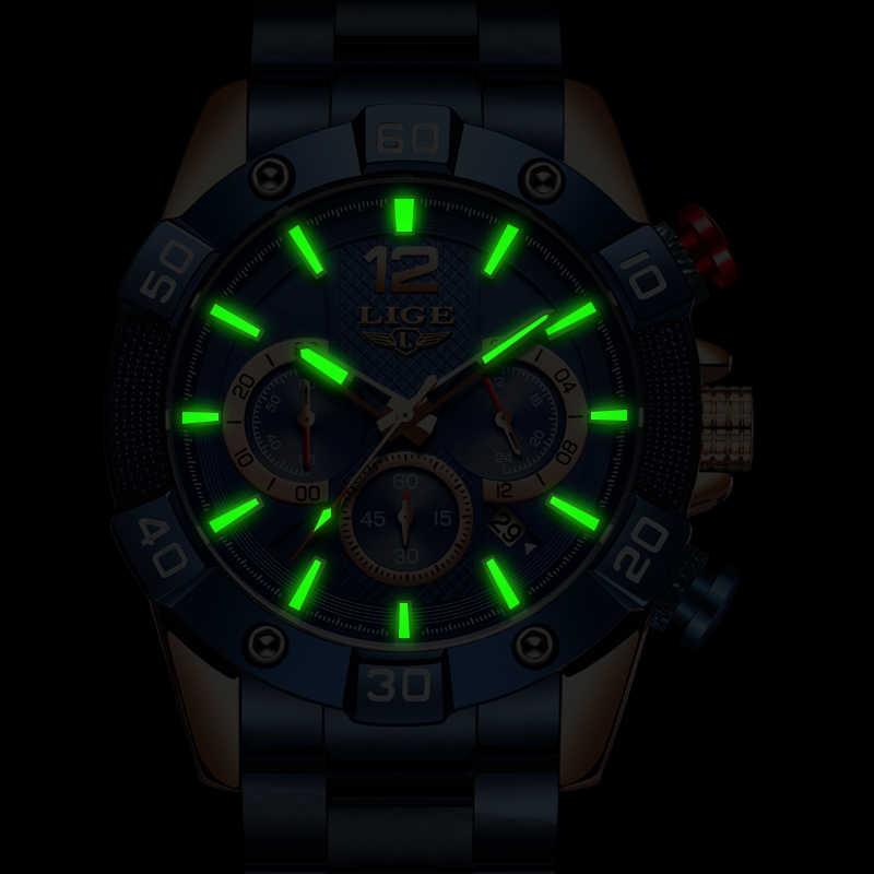 LIGE 2020 Neue Mode Blau Herren Uhren Top Marke Luxus Uhr Sport Chronograph Wasserdicht Quarz Uhr Männer Relogio Masculino