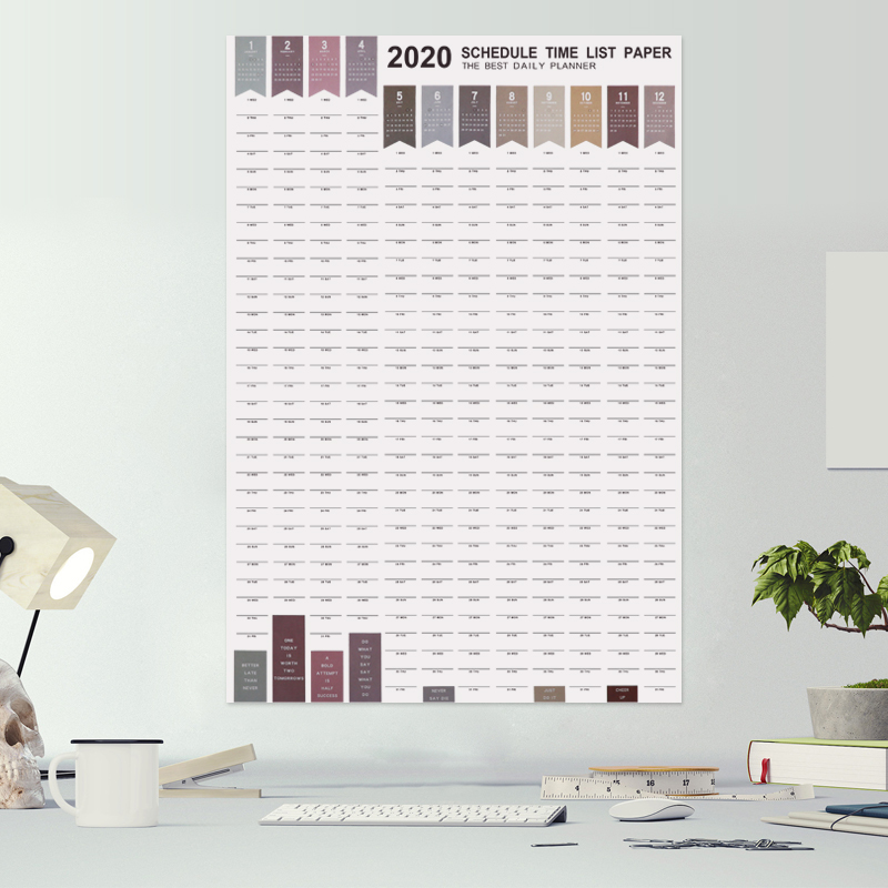 365days 1PC Agenda 2019 2020 Paper Wall Calendar  Daily Planner Notes Very Large Study TO DO LIST Kawaii School Supplies