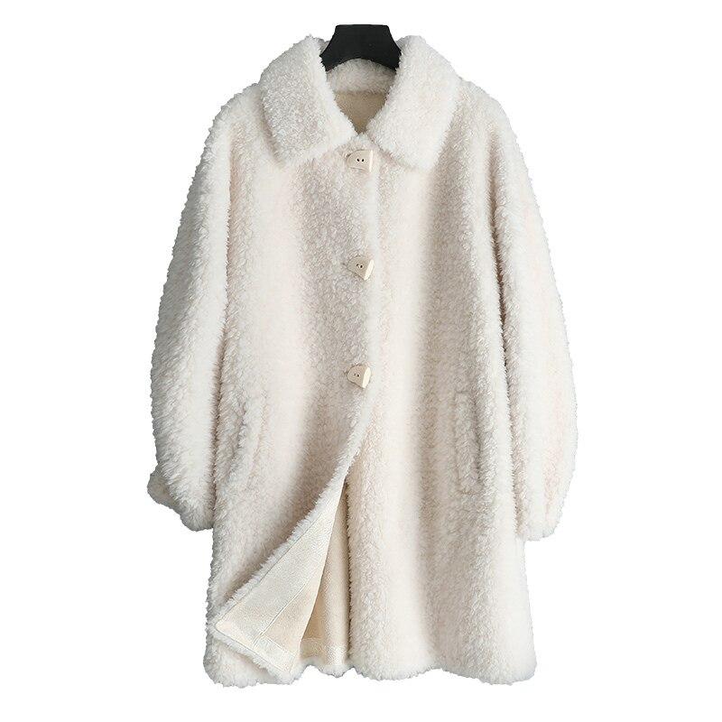 Real Fur Coat Women Winter Jacket Long Korean Sheep Shearing Fur Coats And Jackets Abrigos Mujer Invierno 2020 TLR2536