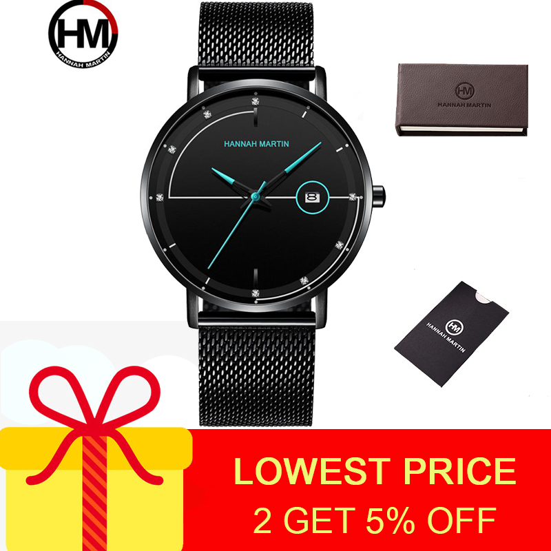 Hannah Martin Watch Men Quartz Watches Water Resistant 3bar Hardlex Dial Fashion Casual Black Men's Watch Stainless Steel Band