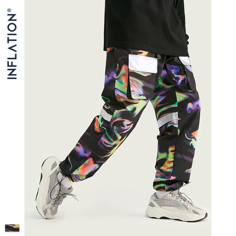 INFLATION 2020 FW Men Die Dye Jogger Pants Loose Fit Men Streetwear Jogger Pants Elastic Waist Men Fashion Tie Dye Jogger Pants