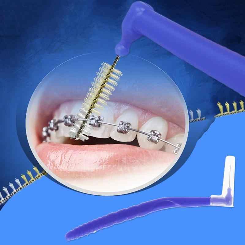 10 pièces 0.8MM interdentaire brosse Portable en forme de L sanitaire cure-dents soie brosse dents nettoyants soins bucco-dentaires pour adultes enfants