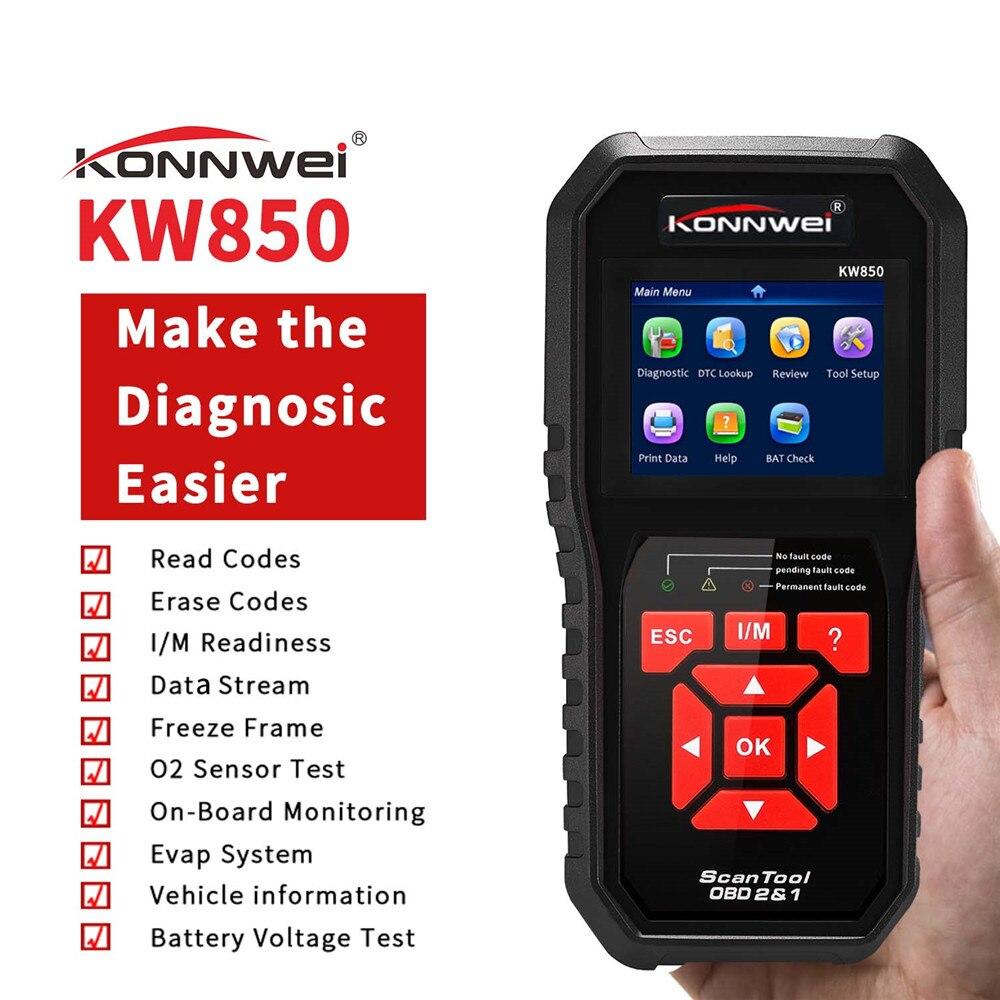 KONNWEI KW850 Autoscanner OBD 2 OBD2 Scanner automobile multi-langues Scanner de Diagnostic automatique mieux AL519 NT301 OBD2 Scanner