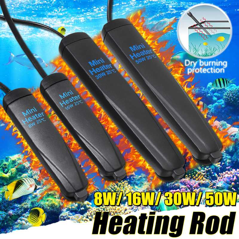 Mini Aquarium Heater Rod 50W Temperature Adjustable Auto Thermostat Fish Tank Submersible Heating Rod