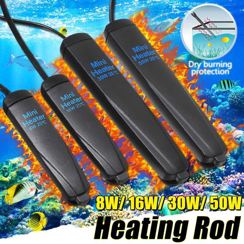 Mini Aquarium Heater Rod 50W Temperature Adjustable Auto Thermostat Fish Tank Submersible Heating Rod