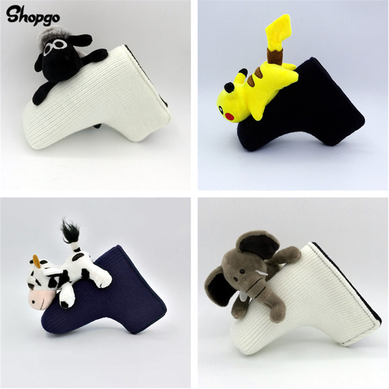 All Kinds Of Animals Golf Blade Putter Head Covers Knitted Wool With Magnetic Closure Unisex Cartoon Golf Club Covers