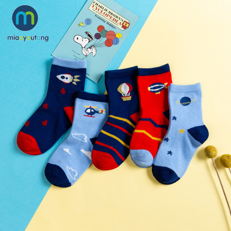5 Pair Jacquard Warm Cotton High Quality Soft Steamship ET Rocket Child Boy Newborn Socks Kids Girl Baby Socks Miaoyoutong