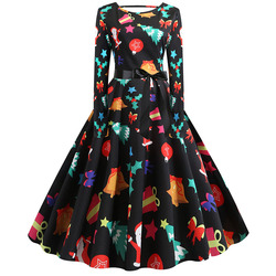 S-5XL Christmas Print Vintage Dress Women Autumn Winter Long Sleeve A-line Midi Party Dress Pin Up 50s 60s Robe Femme Plus Size 5