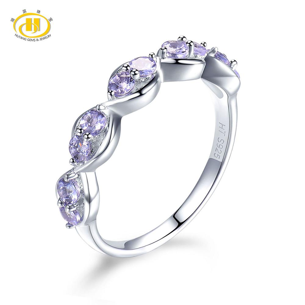 Hutang Natural Tanzanite Rings 925 Sterling Silver Gemstone Infinity Ring Fine Fashion Jewelry for Women Presents Best Gift New