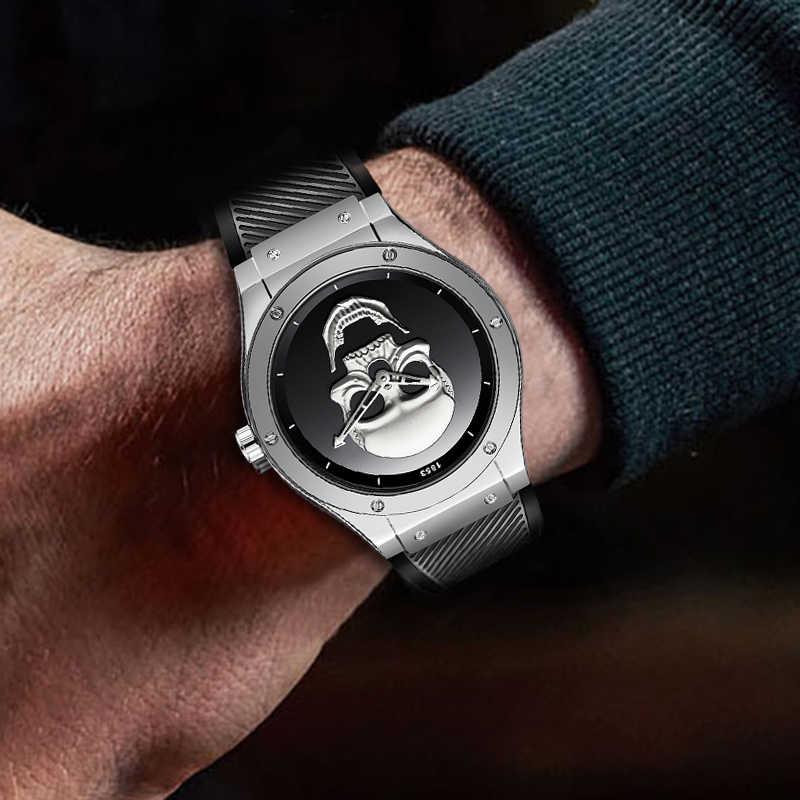 ליגע גברים אופנה עסקי קוורץ שעון איש 3D גולגולת סיליקון רצועה עמיד למים ספורט שעונים Mens למעלה מותג יוקרה שעוני יד + תיבה