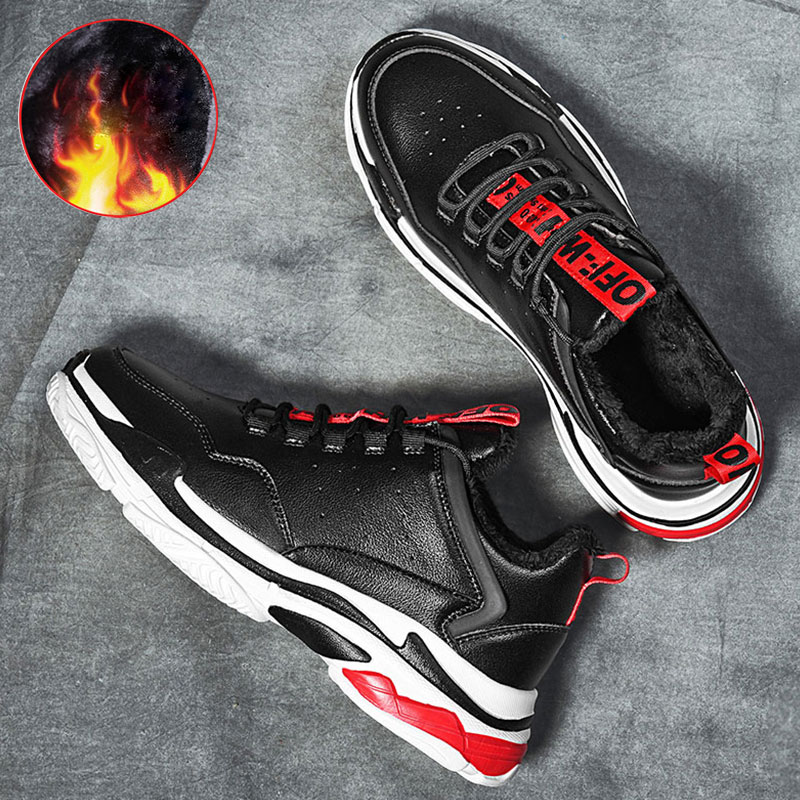 SUROM Men Outdoor Athletic Sport Sneakers Shoes Men Running Shoes Breathable Keep Warm Winter Sneakers Men Trainer Walking Shoes