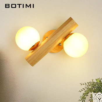 BOTIMI Wooden LED Wall Lamp With Ball Shaped Glass Lampshade For Bedroom Reading Hotel Bedside Decor Wooden Wall Sconce