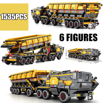1535PCS Sembo Block Military Toys Wandering Earth CN373 Bucket Carrier Vehicle Truck Fit Technic SWAT City Building Bricks new sembo block engineering city construction container truck fit technic building blocks toys bricks toys for children kid gift