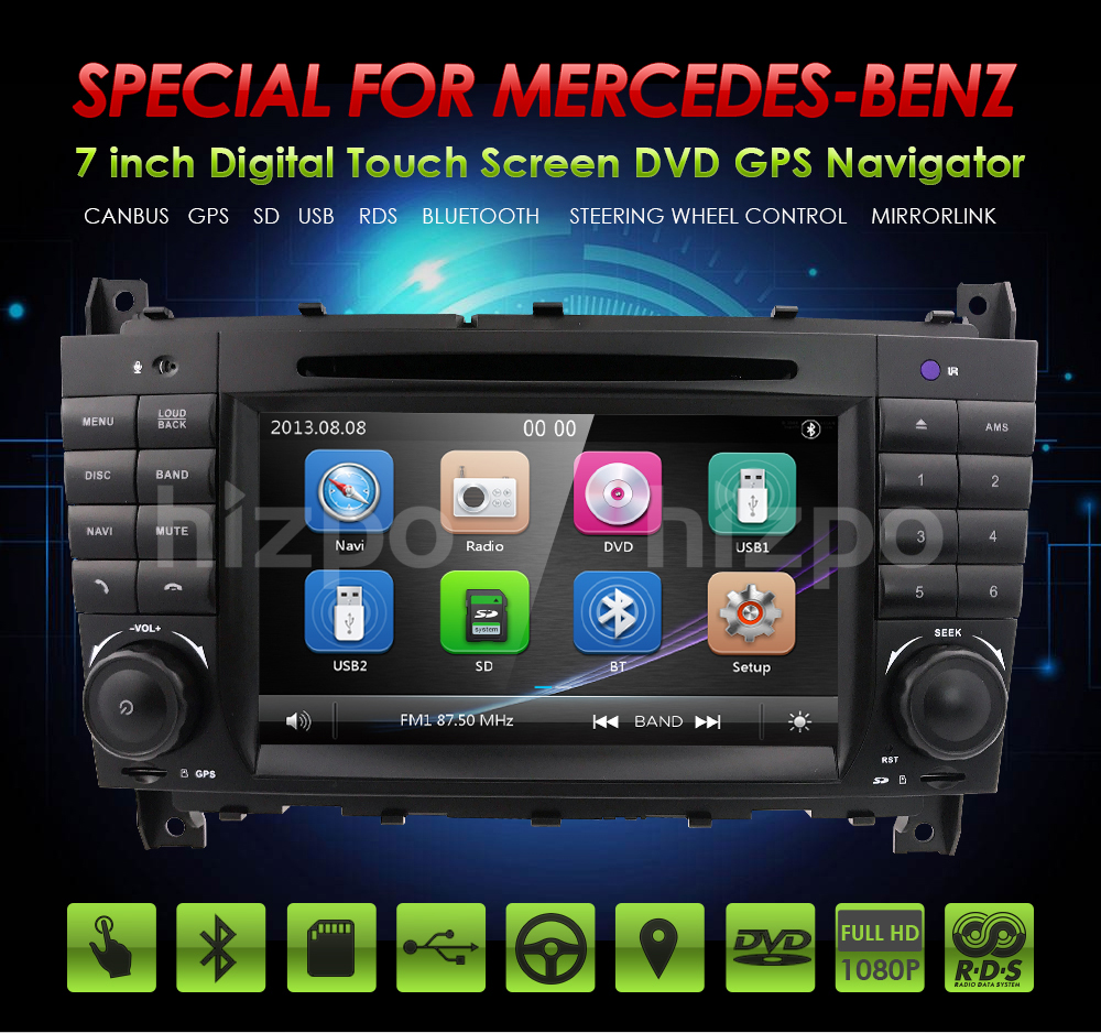 HIZPO 2DIN Car DVD GPS For Mercedes <font><b>Benz</b></font> <font><b>W203</b></font> C200 C230 W209 CLK <font><b>Radio</b></font> DVD GPS <font><b>Navi</b></font> Car Stereo <font><b>radio</b></font> stereo autoaudio multimedia image