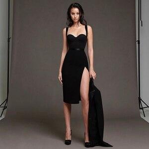 Adyce 2020 New Summer Women Elegant Bodycon Bandage Dress Sexy Spaghetti Strap Black Club Celebrity Runway Party Dress Vestidos