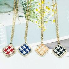 Fashionable square knit lady's necklace British style boutique pendant necklace multi-color options fashionable bohemia style butterfly pendant necklace copper blue