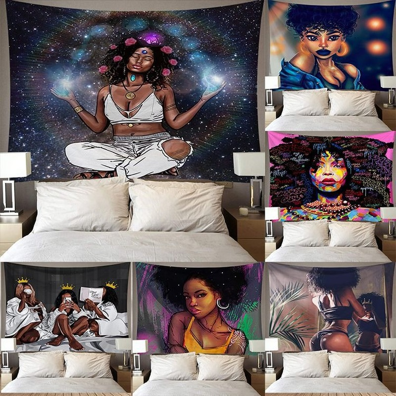 African woman background wall tapestry Background cloth  Tapestry home decoration mural 95*73cm