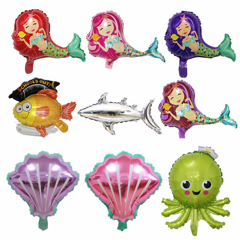 New water family mermaid dolphin shark color shell children birthday gift party decoration aluminum foil aluminum balloon