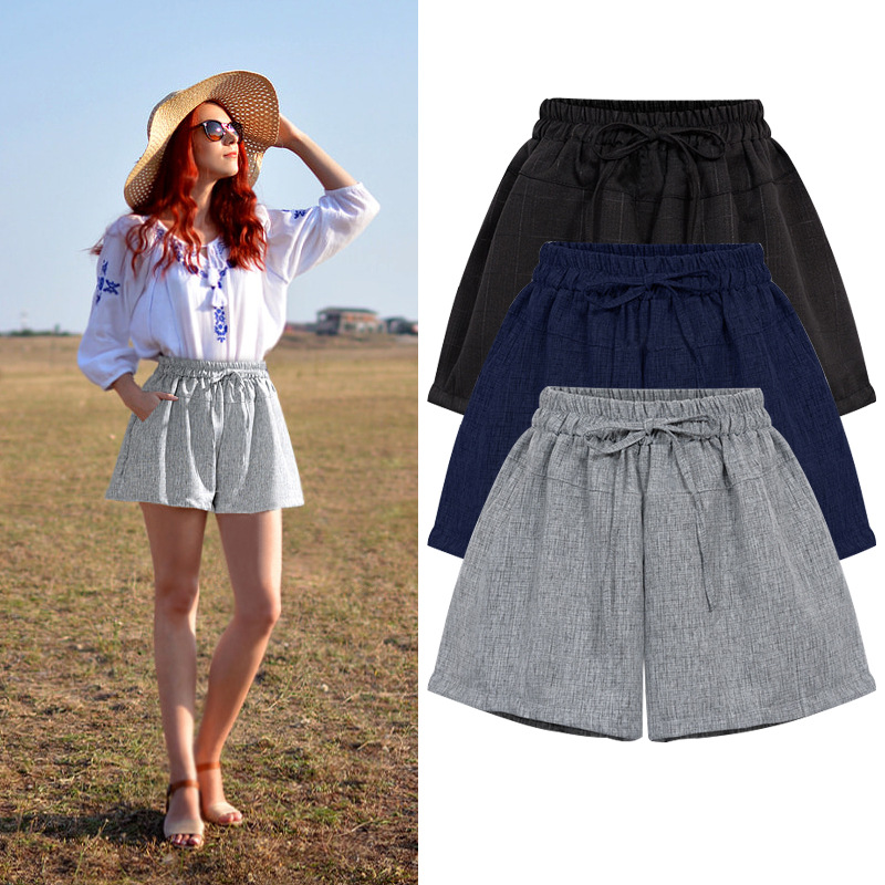 Shorts Women Summer Casual  High Waist  Loose Drawstring  A- Line  Short