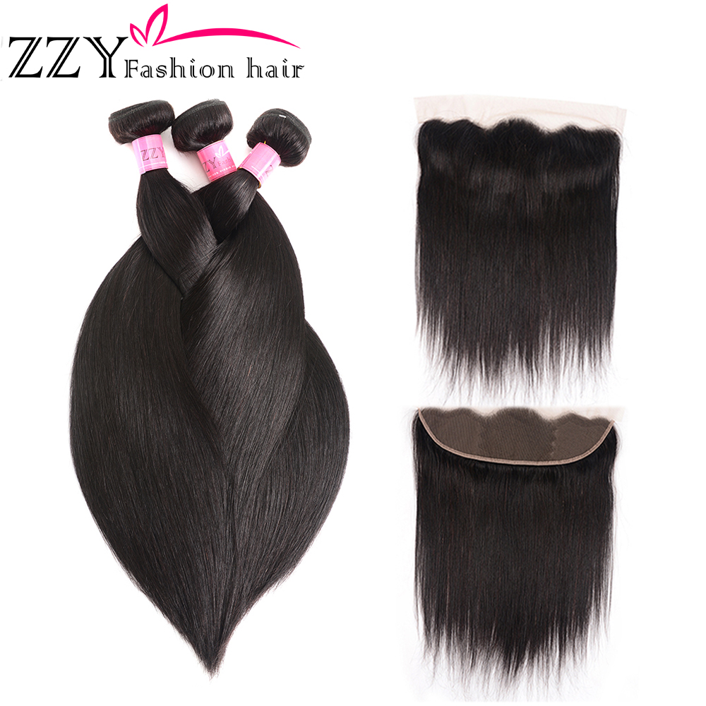 ZZY Bundles With Lace Frontal Closure Brazilian Straight Human Hair Bundles With Lace Closure 8
