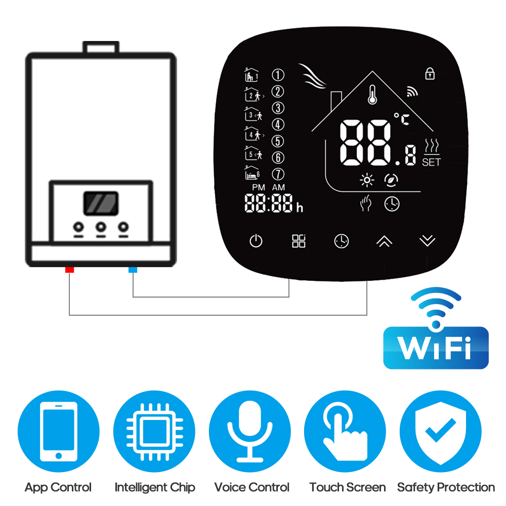 Programmable Thermostat Wifi Thermostat With Touchscreen LCD Display Weekly Energy Saving Smart Temperature Controller Tool