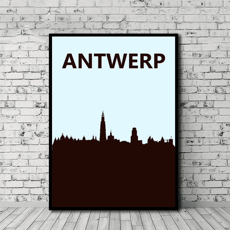 Antwerp Travel Poster Nordic Style Canvas Painting Print Home Decoration Wall Art Decor No Frame
