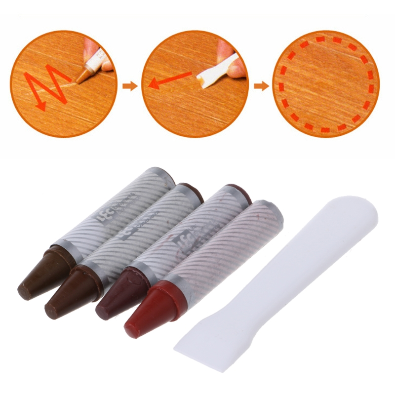 4PCS Furniture Marker Crayons Repair Kit Wood Touch Up Scratch Filler Remover in Brush from Tools