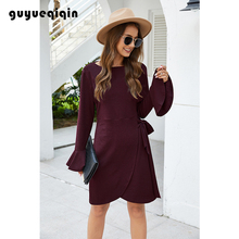 Casual Midi Dress Flare Sleeve  O-neck Women Pure Color Long Party