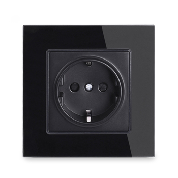 RG01 Wall Crystal Glass Panel Power Socket Plug Grounded, 16A EU Standard Electrical Outlet 86mm * 86mm