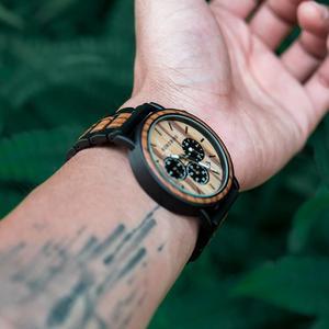 Image 3 - בובו ציפור Relogio Masculino עסקי גברים שעון מתכת עץ שעוני יד הכרונוגרף אוטומטי תאריך תצוגת שעון זכר Dropshipping