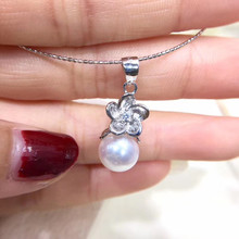 Flower 925 Silver Pendant Base Settings Component Findings Women's Parts for Oyster Edison Pearl Coral Jade Beads Stones(China)