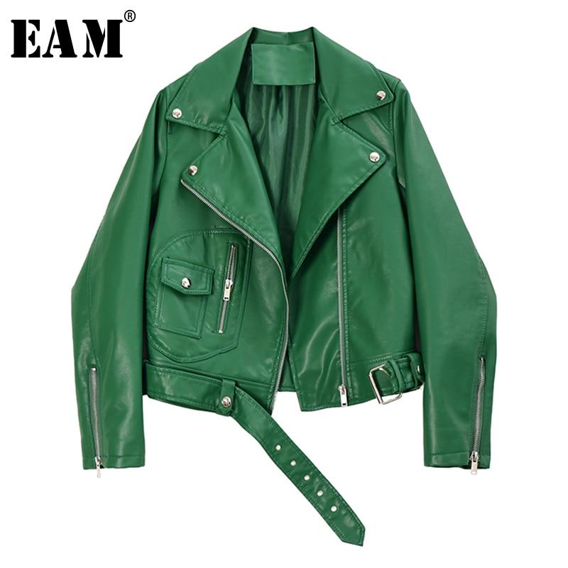 [EAM] Loose Fit Green Zipper Split Pu Leather Short Jacket New Lapel Long Sleeve Women Coat Fashion Tide Spring 2020 1R749