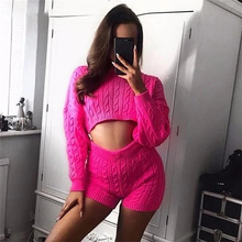 цена на ALLNeon Hot Pink Women Pants Set Oversized Knitted Pullovers And Short Pants Twist Solid Two Piece Set High Waisted Ladies Suit