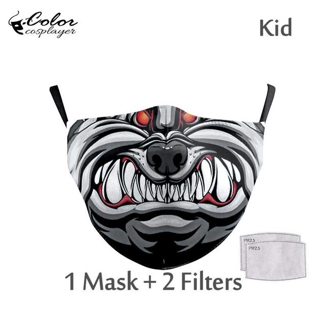 Color Cosplayer Cute Kids Face Fabric Mask Animal Mouth Cosplay Masks Childrens Washable Fabric Mask Mouth Cover 1