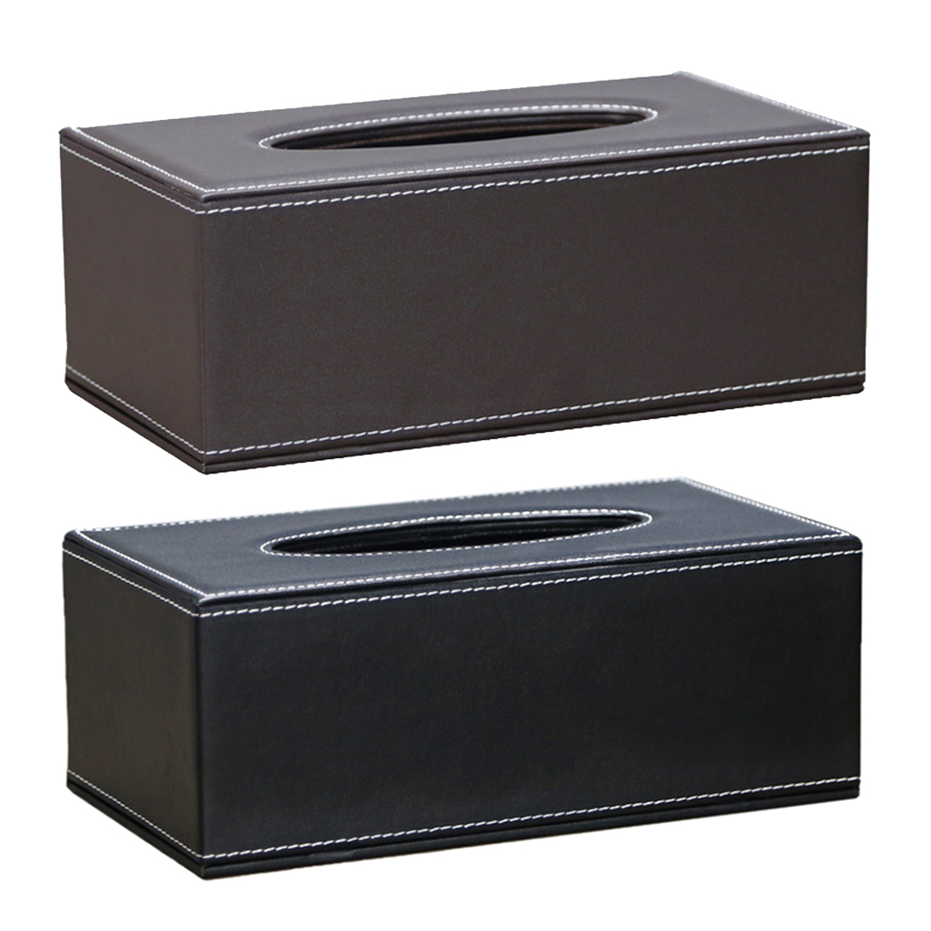 Rectangular PU Leather Facial Tissue Box Napkin Holder Cover Organizer for Home Hotel Office, Car Automotive Decoration