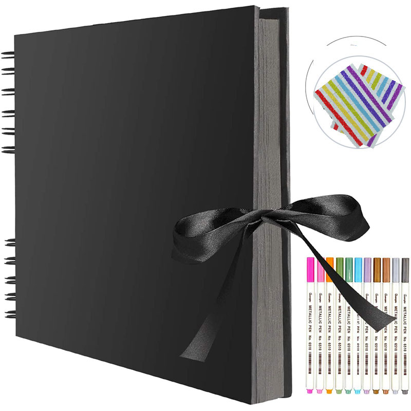 Photo album 80 black pages 11.4 x 8.5 inches A4 paper for DIY craft scrapbooking with 12 metal markers for Wedding Birthday Gift image
