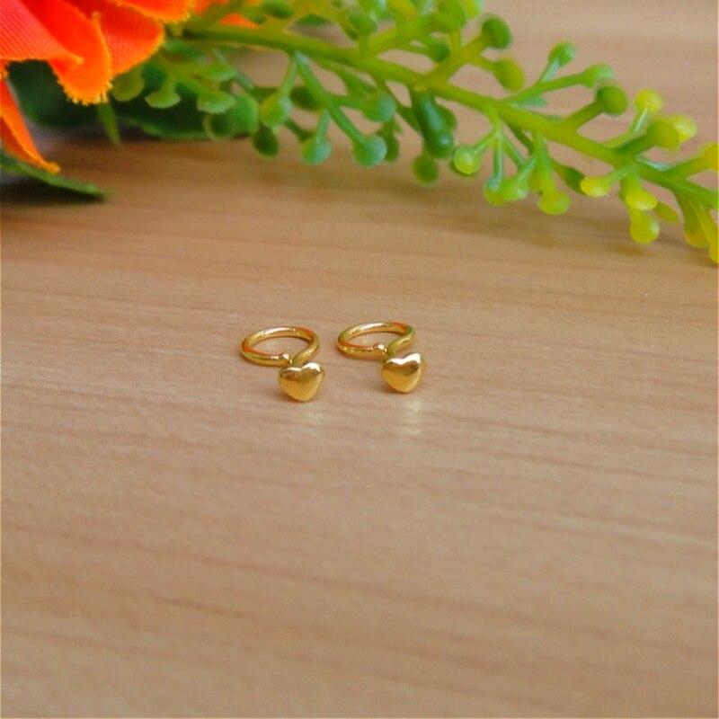 Pure Solid 24k Yellow Gold Women Earrings Perfect Heart Stud Earrings 0.42g 4.5mmW