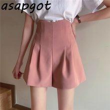 Pantalones Cortos informales De talla grande para Mujer, traje De pierna ancha y cintura alta, holgados, 5 colores